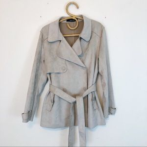 Zara Basic Vegan Suede Belted Double Breasted Coat